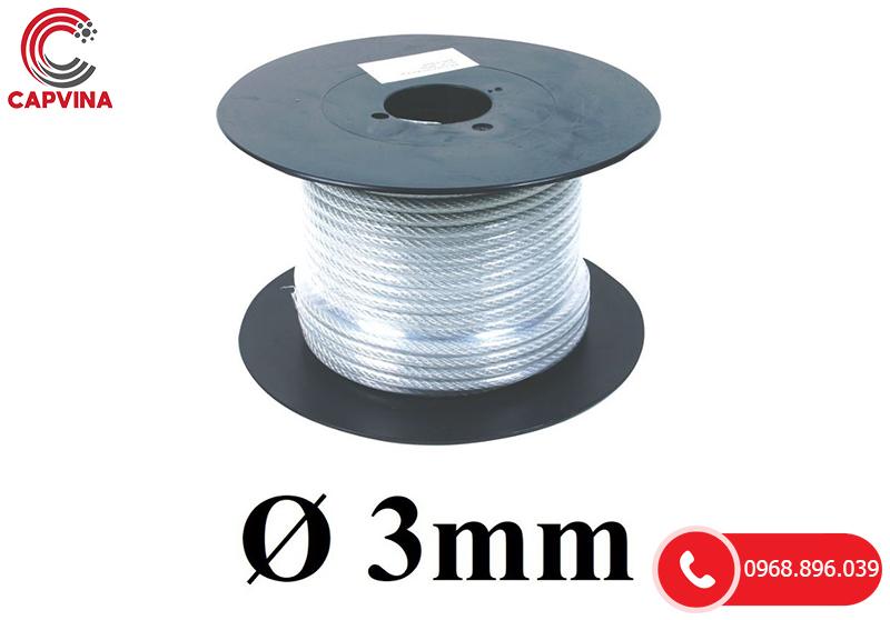 Dây Cáp Thép Mạ Kẽm Bọc Nhựa D3mm (lõi 1.5mm)