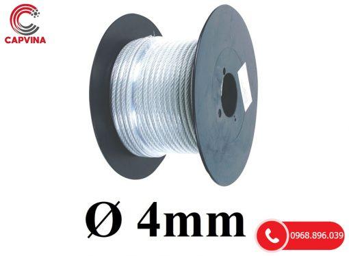 Dây Cáp Thép Mạ Kẽm Bọc Nhựa D4mm (lõi 2mm)